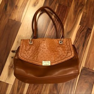 Antonio Melani Cognac Leather Ostrich Satchel